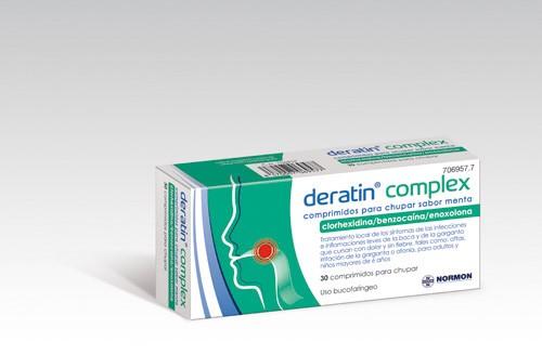 DERATIN COMPLEX COMPRIMIDOS PARA CHUPAR SABOR MENTA , 30 comprimidos (Blister aluminio/PVC)