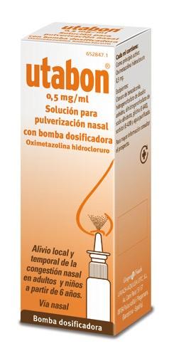 UTABON 0,5 mg/ml SOLUCION PARA PULVERIZACION NASAL CON BOMBA DOSIFICADORA, 1 envase pulverizador de
